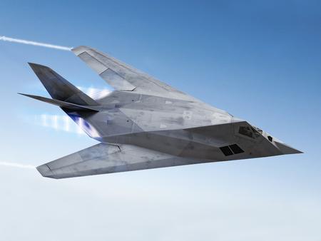 tealth 航空機の afterburners、蒸気のたなびき空をストリー キング 写真素材