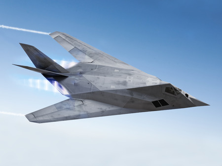 tealth aircraft streaking through the sky with afterburners and vapor trails Stock Photo