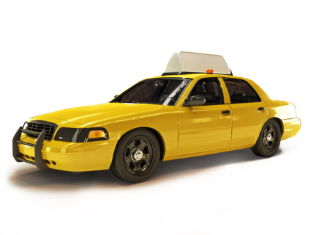 Taxi cab on a white background with room for text or copyspace