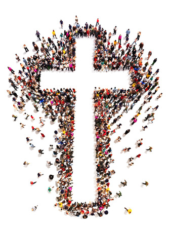 worship white: Large crowd of people walking to and forming the shape of a cross on a white background