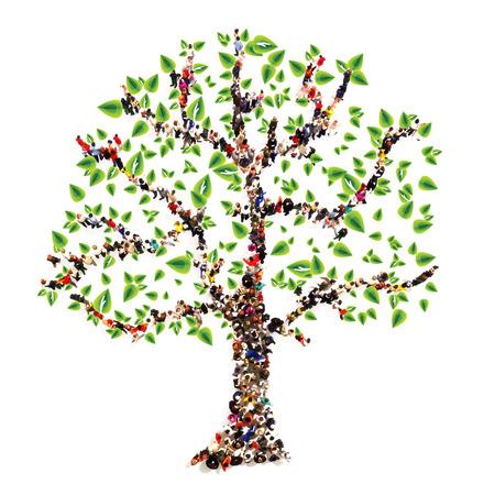 arbol con raices: Árbol genealógico. La gente en la forma de un árbol, el concepto de árbol