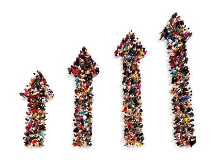 gradual: La gente en la forma de flechas con gradual aumento sobre un fondo blanco Foto de archivo