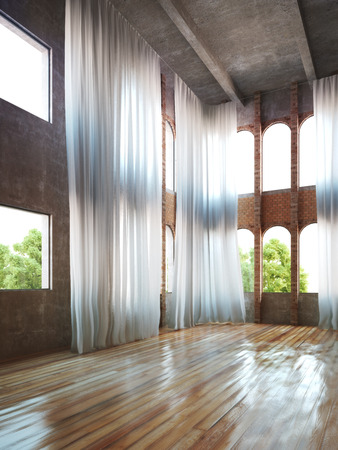 accents: Empty room interior with rustic accents and curtains