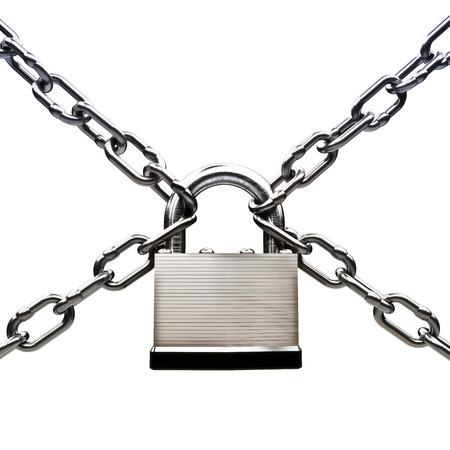 Under protection , locked up security concept. Pad lock with chains on a white background