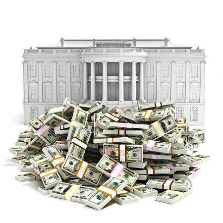 政府 spending,I.R.S、債務赤字または購入の大統領職の概念。白い家の前にお金の大規模な山。 写真素材 - 35797931