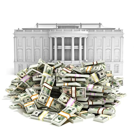 Government spending,I.R.S ,debt deficit or buying presidency concept. Large pile of money in front   of the White house.