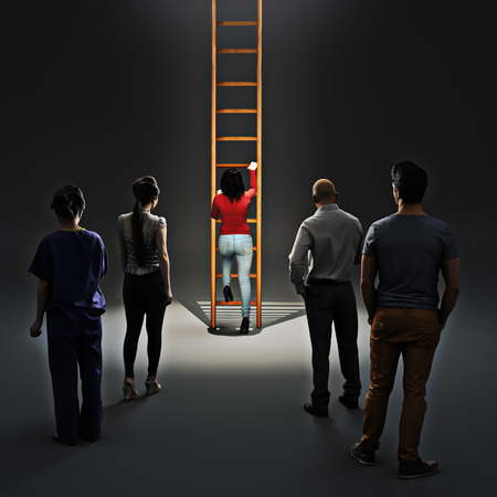 Image of woman climbing career ladder with people watching. Success and achievement