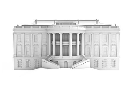 congress: 3d illustration of the main building of the White house on a white background.