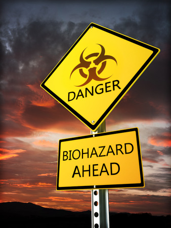 Panneau d'avertissement de danger bio posté près de la zone de danger Banque d'images - 36203362