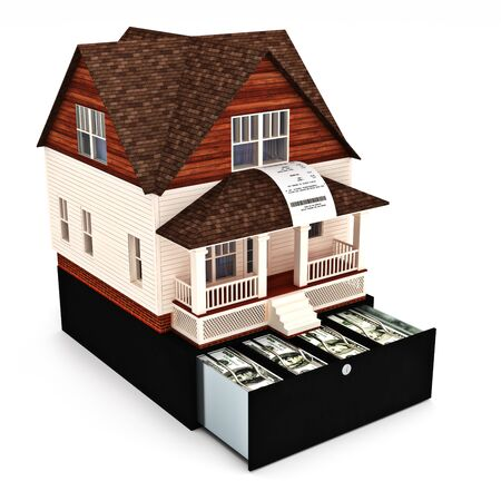 Home costs concept. Building ,buying, renting, loan, repairs, renovation , insurance ect. Home on the top of a register with sales receipt coming out of the window on a white background Stock Photo - 36203365