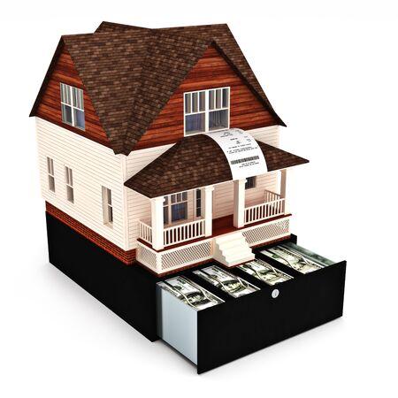 Huis kost concept. Gebouw, kopen, huren, lening, reparaties, renovatie, verzekeringen ect. Huis op de top van een register met aankoopbon die uit het raam op een witte achtergrond