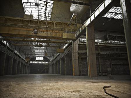 사실적인 3D 그림 .Photo 빈 바닥이있는 대형 실내 프레임 그런 지 창고 스톡 콘텐츠