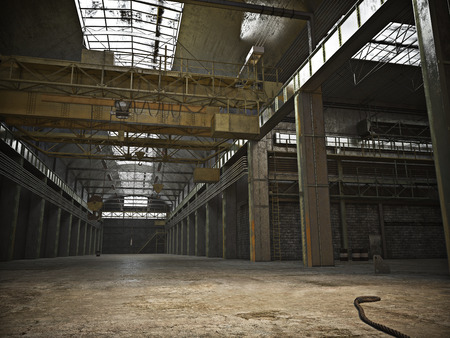 factory interior: Large Interior framed grunge warehouse with an empty floor .Photo realistic 3d illustration Stock Photo