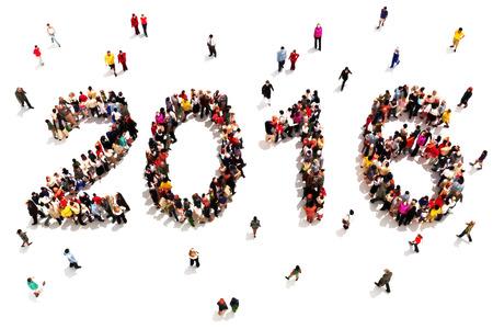 Bringing in das neue Jahr. Große Gruppe von Menschen in der Form 2016 feiert eine neue Jahr-Konzept auf weißem Hintergrund. Vertikale Version ebenfalls verfügbar.