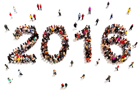 Bringing in the new year. Large group of people in the shape of 2016 celebrating a new year concept on a white background. Vertical version also available.