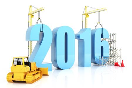 Jahr 2016 Wachstum, Gebäude, Verbesserung in der Wirtschaft oder in allgemeine Konzept im Jahr 2016 auf einem weißen Hintergrund