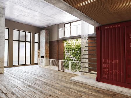Leeren Raum der Residenz mit einem Atrium gegen die Rückwand und Holzböden.