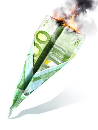 market crash: European market crash or dept concept. Euro currency in the shape of a jet, crash and burning on a white background.