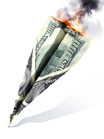 dept: American market crash or dept concept. American currency in the shape of a jet, crash and burning on a white background.