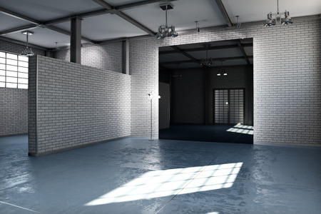 modern interior: Empty room of a business or residential property with gray brick and concrete stained floor steel framed and architectural lighting. Photo realistic 3d rendering