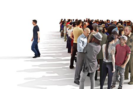 De pie entre la multitud concepto, hombre dejando una gran multitud detrás.