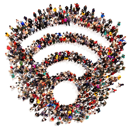 sharing information: People getting connected. Large crowd or group of people forming the shape of an internet WiFi connection symbol on a white background.
