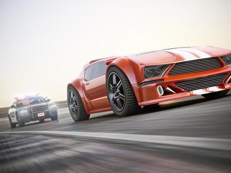 Die Jagd. Polizeiauto jagen eines exotischen Sportwagen mit Bewegungsunschärfe. Generisches benutzerdefinierte fotorealistische 3D-Rendering