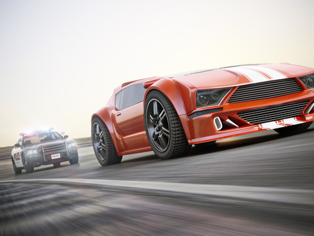 sports race: The chase. Police car chasing of an exotic sports car with motion blur. Generic custom photo realistic 3d rendering