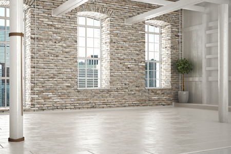 flooring design: Empty room of business,or residence with brick interior and a city background. Photo realistic 3d illustration. Stock Photo