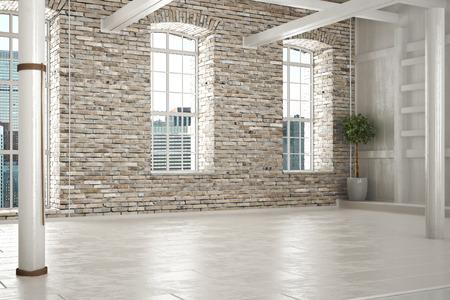 Lege ruimte van het bedrijfsleven of verblijf met bakstenen interieur en een stad achtergrond. Fotorealistische 3D-afbeelding. Stockfoto