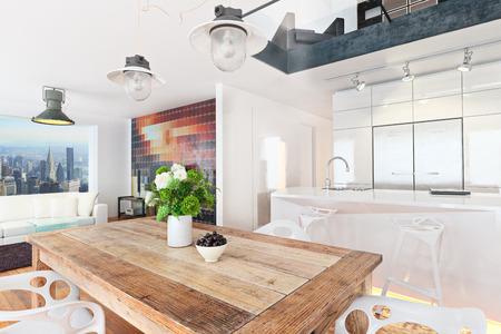 도시 배경이 내려다 보이는 현대 고층 아파트 콘도. 사진 현실적인 3D 장면.