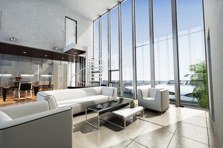 int�rieur de maison: Immobilier int�rieur avec vue sur l'oc�an et le yacht de luxe. Photo sc�ne 3D r�aliste.