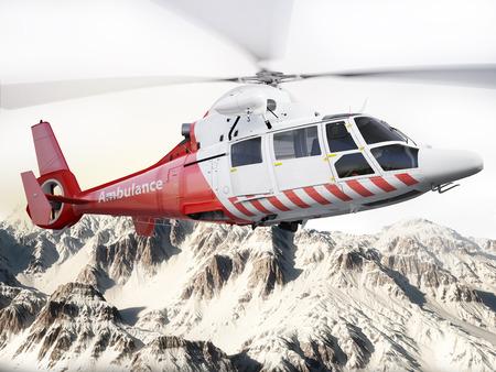 모션 블러 블레이드와 눈 덮인 산 비행 구조 헬기. 사진 현실적인 3D 장면 스톡 콘텐츠