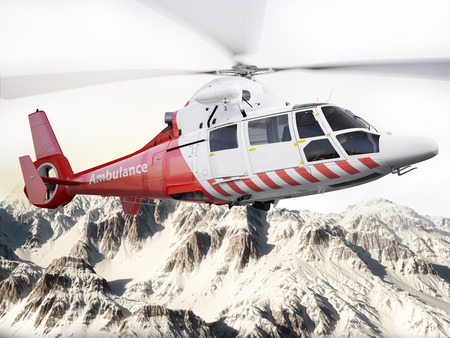 helicopter pilot: Rescue helicopter in flight over snow capped mountains with motion blur blades. Photo realistic 3d scene