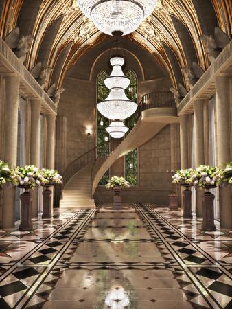 Ślub: Kościół Katedra wnętrze z kwiatowe. Zdjęcie realistyczne sceny 3D.