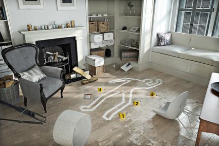 escena del crimen: Allanamiento de morada, escena del crimen en una casa amueblada destrozado. Foto realista escena 3d
