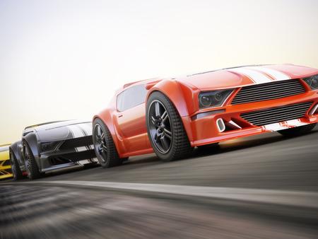Das Rennen, Exotische Sportwagen-Rennen mit Bewegungsunschärfe. Generisches benutzerdefinierte fotorealistische 3D-Rendering.
