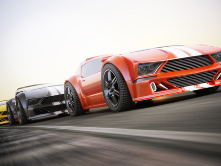 sports race: The race , Exotic sports cars racing with motion blur . Generic custom photo realistic 3d rendering.