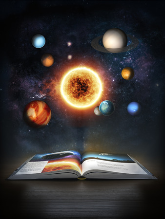 fantasy book: Discovering Science, Open book revealing the solar system