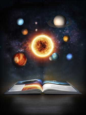 Het ontdekken van Wetenschap, Open boek openbaren van het zonnestelsel Stockfoto