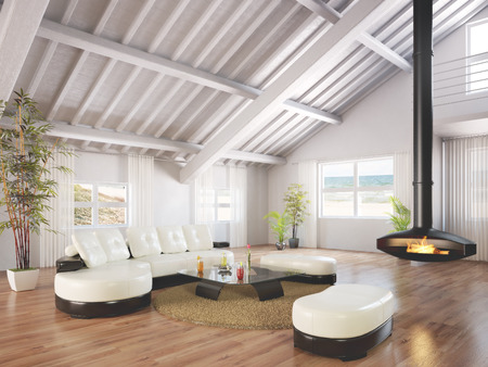 modern interior: Beach house bungalow furnished and decorated with wood floors and a working fireplace with a beach scene background