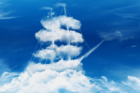 navy ship: Pirate ship or sailing ship in the shape of a sea of clouds concept.