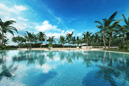 tropical: Resort style Large swimming pool in a tropical setting. Photo realistic 3d rendered scene