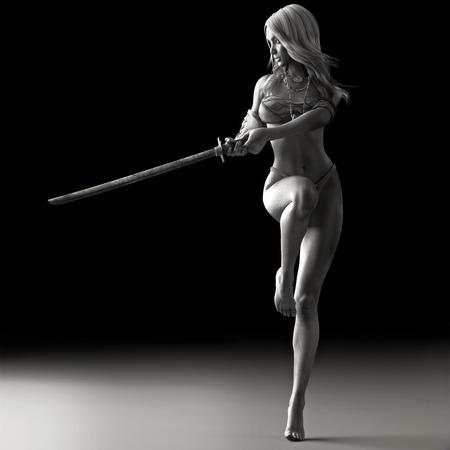 ragazze a piedi nudi: Spada ballerino, femminile artista marziale in posa con una spada in bianco e nero. Rappresentazione realistica della foto 3d