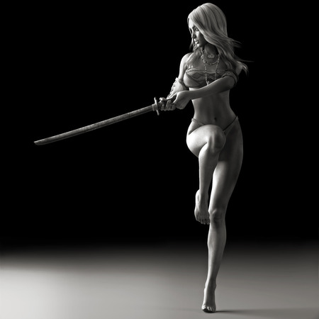 Sword dancer, Female martial artist posing with a sword in black and white. Photo realistic 3d rendering Stock Photo