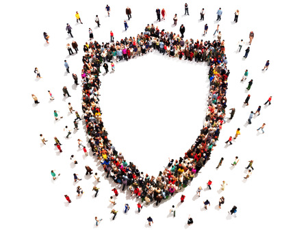 security room: People getting security or protection. Large group of people in the shape of a shield with room for text or copy space isolated on a white background.