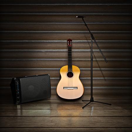 guitarra: Fondo de la m�sica con temas con guitarra ac�stica, amplificador y micr�fono.