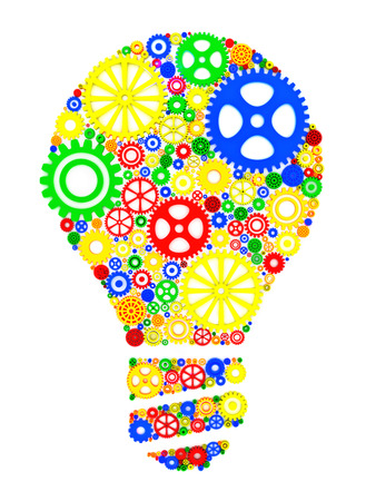 impact: Innovation creativity concept. 3d gears in the form of a lightbulb Stock Photo