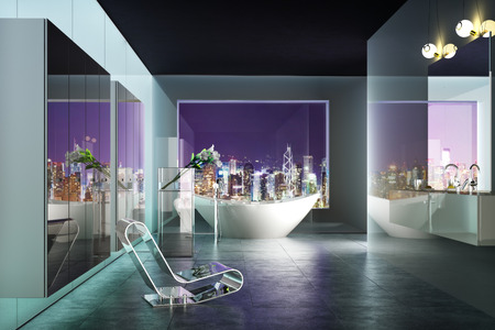 Modern highrise contemporary bathroom interior with view of the city photo