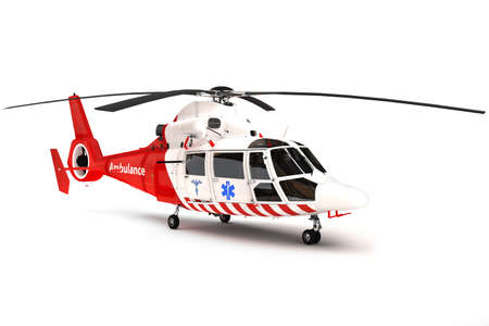 helicopter pilot: Rescue helicopter on a isolated white background